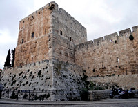 Wall and Tower Surrounding Jerusalem Israel